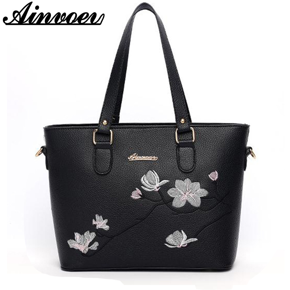 Ainvoev Women Bags 2017 Brand Embroidery Flowers women Handbag National Messenger Shoulder Bags Tote mother bag gift color a1928 a three dimensional embroidery of flowers trees and fruits chinese embroidery handmade art design book