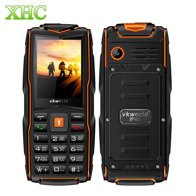 Original VKWorld Nova Pedra V3 IP68 2.4 polegada Do Telefone Móvel Teclado Russo 3000 mAh Bateria À Prova D' Água LEVOU Lanterna Celular GSM