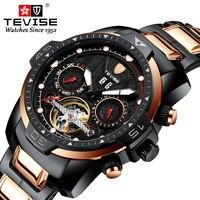 Tevise início marca masculina semana data resistente à água luminosa mãos luxo ouro aço relógio de pulso mecânico tourbillon masculino Relógios mecânicos    -