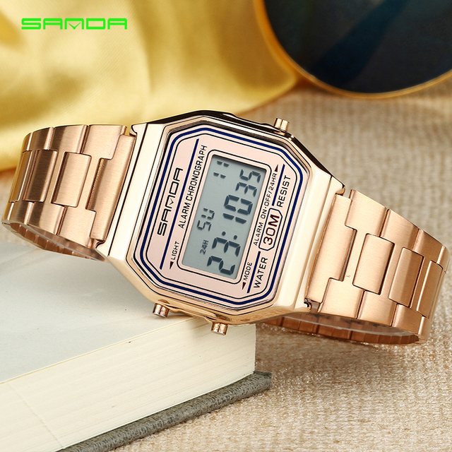 2019 SANDA Women Luxury Golden LED Electronic Digital Watch Waterproof