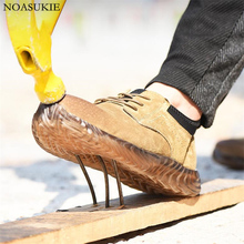 Summer Men Fashion Safety Shoes Non Slip Oxford Soles Cow Suede Breathable Work Anti-Smashing Puncture Steel Toe