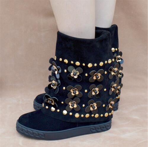 Nova Moda Floral Embelezado Cravejado Ankle Boots de Camurça Preto Botas de Cunha Altura Increaing Mulheres Botas de Inverno - 2