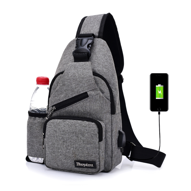 (USB Charge Interface) New Men Chest Bag Canvas Sling Bag Shoulder Satchel Large Crossbody Charing Bag With Side Bottle Pocket color block slit side high low tee with chest pocket