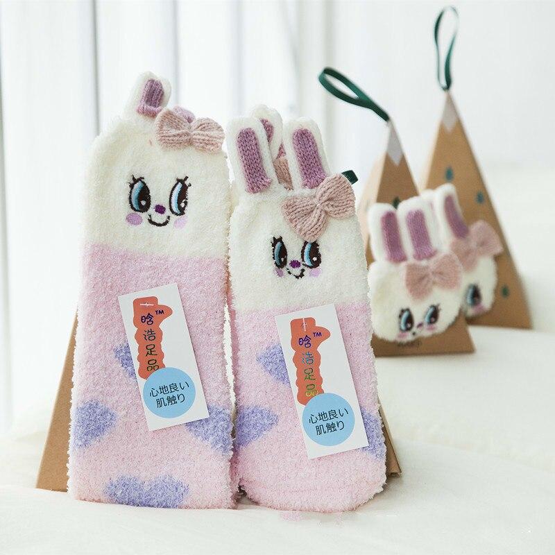 ᓂNavidad conejo de dibujos animados bebé calcetines piso niños ...