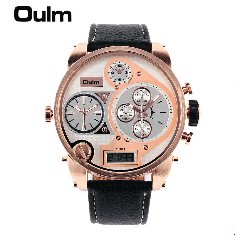 Big face original oulm 9316b brand japan movt quartz dz watch large men dual time male imported for Celebrity quartz watch japan movt