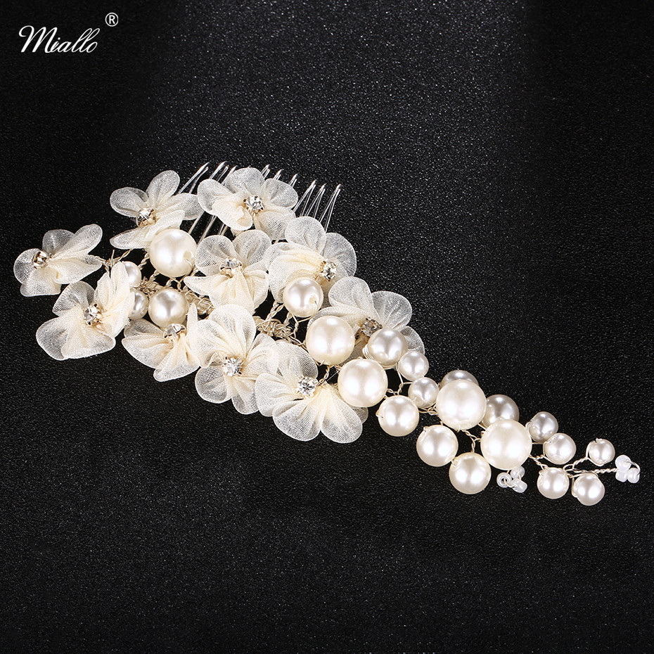 Miallo Newest Wedding Big Peals Hair Combs for Women Ivory white Lace flowers Hair Pins for Bride Fashion Hair Accessories high quality big rose flowers ribbon banana hair clips for women fashion hair flower barrette girls hair accessories 2 colors