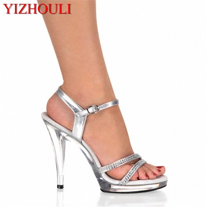 Plateauschuhe High 13cm Heel Silber Sexy Zoll High Kristallklare Sandalen 5 b76gYfy