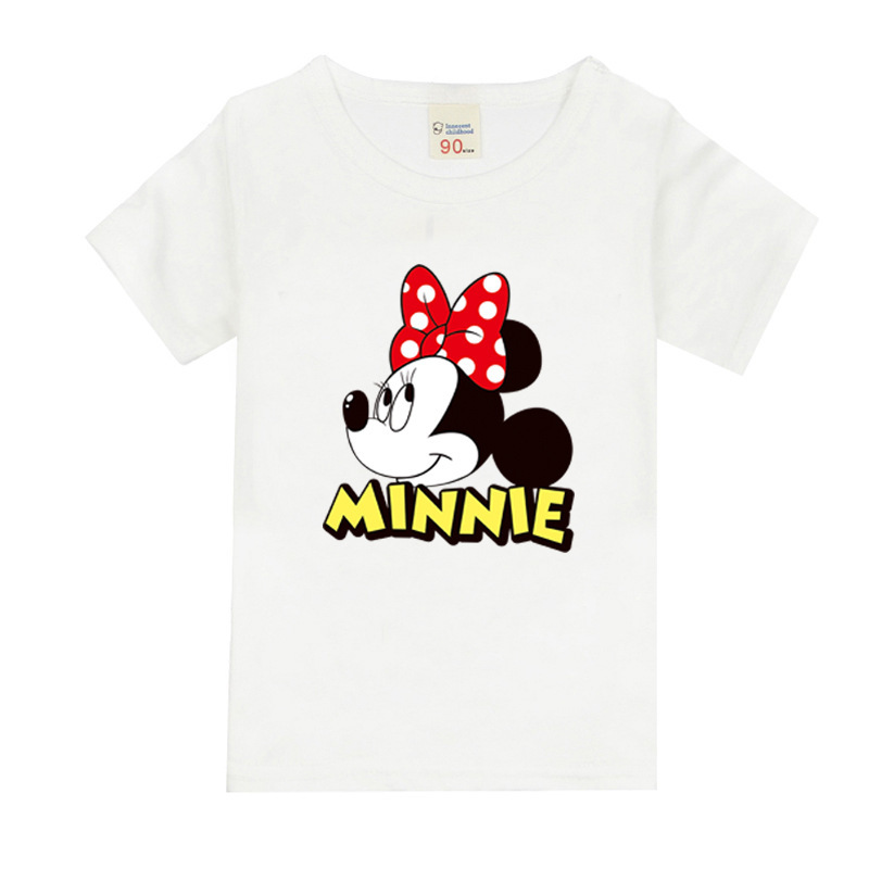 Girls Short Sleeve T Shirts For Children 2017 Minnie Mouse T-shirt Cotton 1-18 Year Kids Teenager Baby Girls Tops Tees Clothes 2017 summer girls sets clothes short sleeve chiffon baby girls sets for kids big girls t shirts and stripe shorts children suits