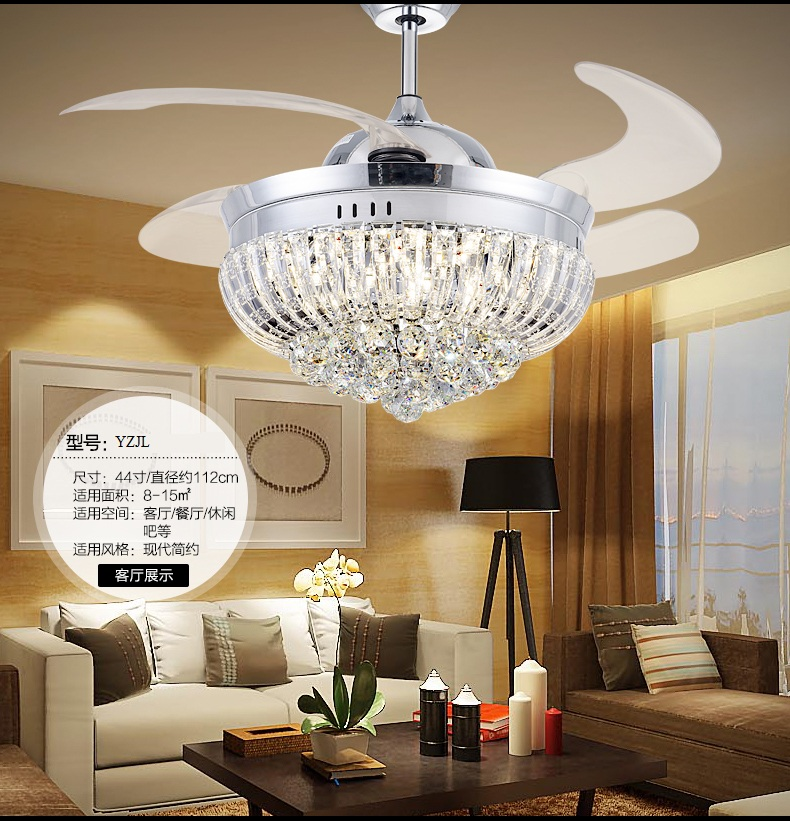 Folding abs blades ceiling fan light 48inch with remote control folding abs blades ceiling fan light 48inch with remote control led30w three crystal color change light fan light living room in ceiling fans from lights aloadofball Images