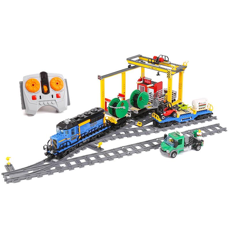 lenin 02008 серии город грузовой поезд конструктор набор строительных кирпичи радиоуправляемый поезд 60052 образования детей игрушечные load подарок город Ленин