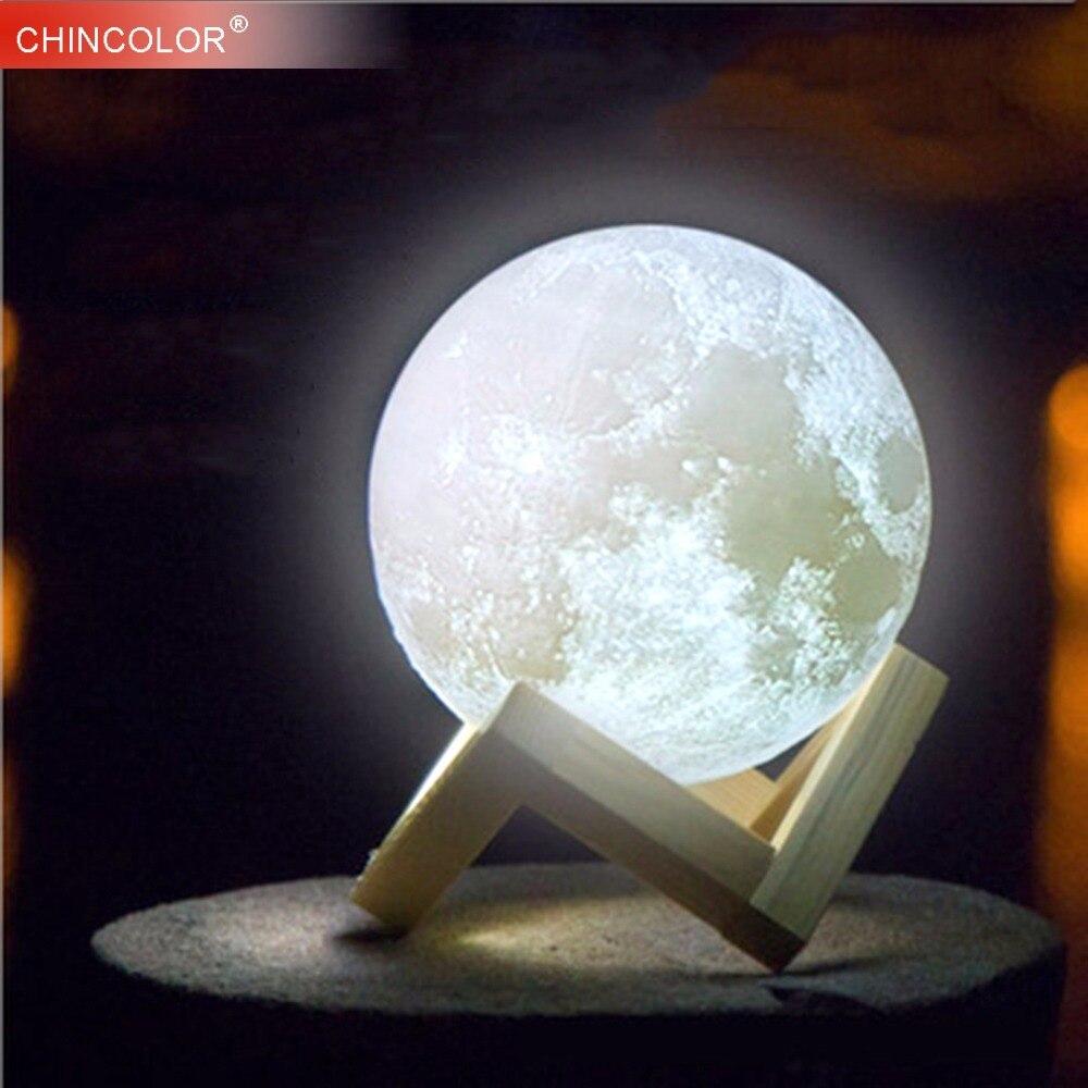 Lampada luna di Stampa 3D Ha Condotto La Luce di Notte Della Novità Della Luce Lunare USB Powered Touch Control 8-20 CM Palla Luminosità Con Supporto In Legno IL