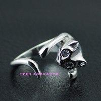 Cute openings 925 pure silver cat ring