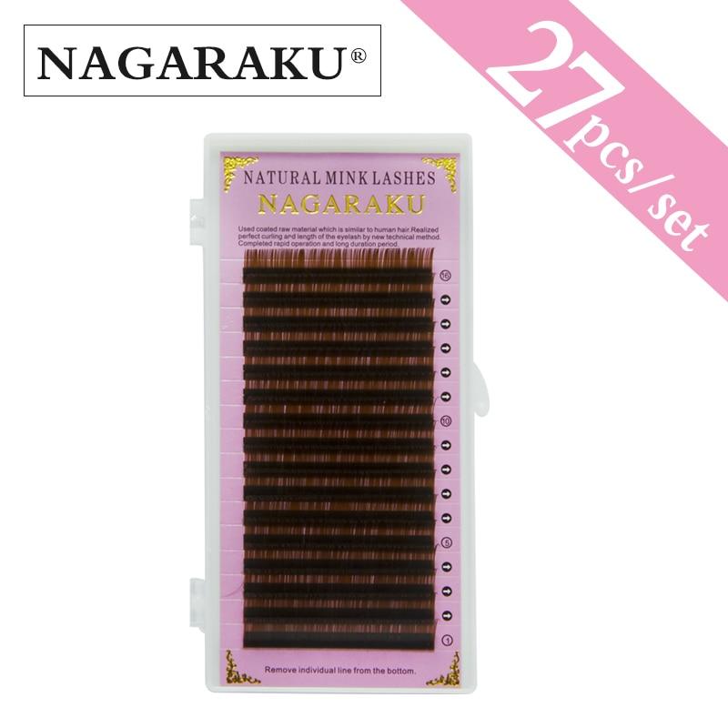 NAGARAKU 27 случаях Оптовая светло-коричневого цвета Накладные ресницы 16 строк, коричневых ресниц, норки брови расширения мягкий