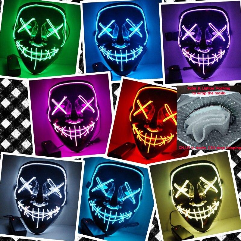 Máscara de Halloween de enlace de envío directo LED máscaras de fiesta de purga año de elección grandes máscaras divertidas Festival Cosplay resplandor en la oscuridad