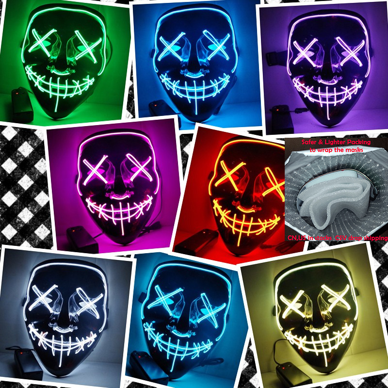 O Transporte da gota Ligação Máscara de Halloween LED Acender Máscaras de Máscaras Do Partido Do Ano Eleitoral de Purga Grande Engraçado Cosplay Festival Glow In escuro