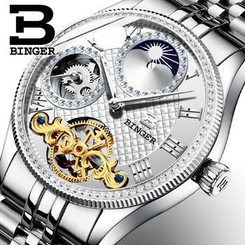 Automatic Mechanical Men Watches Binger Switzerland Luxury Brand Skeleton Watch Sapphire Waterproof Diamond Male Clock B1175-3