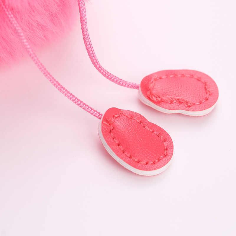 Flamingo De Pele Chaveiro Keychain Phone Straps Fofo Falso Pele De Coelho pompom Bola de Pelúcia Pingente Telefone Saco Anel Chave Do Carro Ornamentos