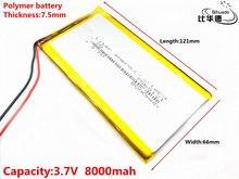 Células recarregáveis do lipo da bateria do íon de lipo do polímero do lítio de 3.7 v 8000 mah 7566121 para o searchlight portátil do dvd da posição do tacógrafo
