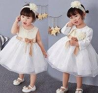 Yenidoğan Bebek Kız Prenses Elbise Doğum Günü Düğün Parti Vaftiz Elbiseler Şampanya İnciler Şerit yay Frocks + Kafa Suit