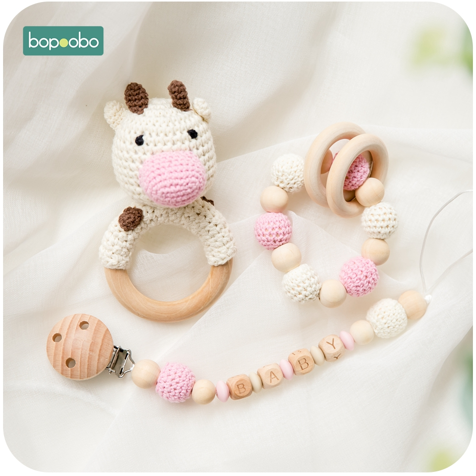 Bopoobo Wooden Teether Crochet Animal Silicone Teether Baby Rattle With Bell Teether Knit Deer Goods For Newborns Baby Teether