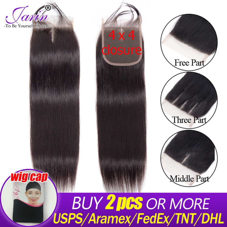 Jarin Brazilian Straight Hair Lace Closure Free/Middle/Three Part Remy Human Hair 4x4 inch Swiss Lace Top Closure Medium Brown