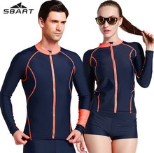 SBART Men Women Wetsuit Diving Surfing Swimsuit Zipper Shirt Long Sleeve Jacket Rash Guards T-Shirts Swimwear(China)
