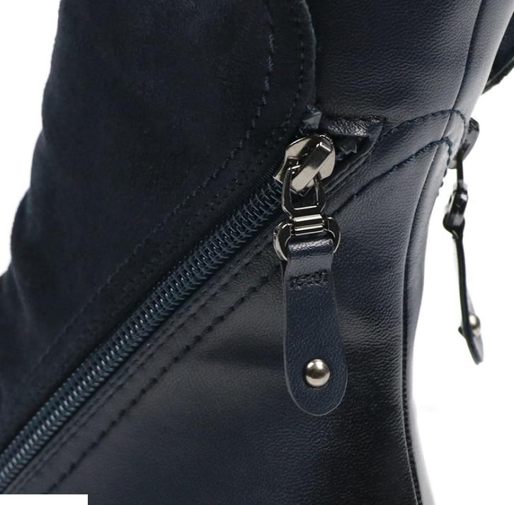 Huanqiu/Модные женские замшевые сапоги до середины икры из искусственной замши на плоской подошве; женские ботинки; сезон весна-осень; обувь черного и синего цвета; ZLL297
