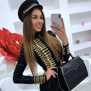 Image 4 - Adyce 2020 New Women Bandage Runway Jackets And Coats Elegant Button Black Long Sleeve Zipper Jacket Celebrity Lady Outwear Coat