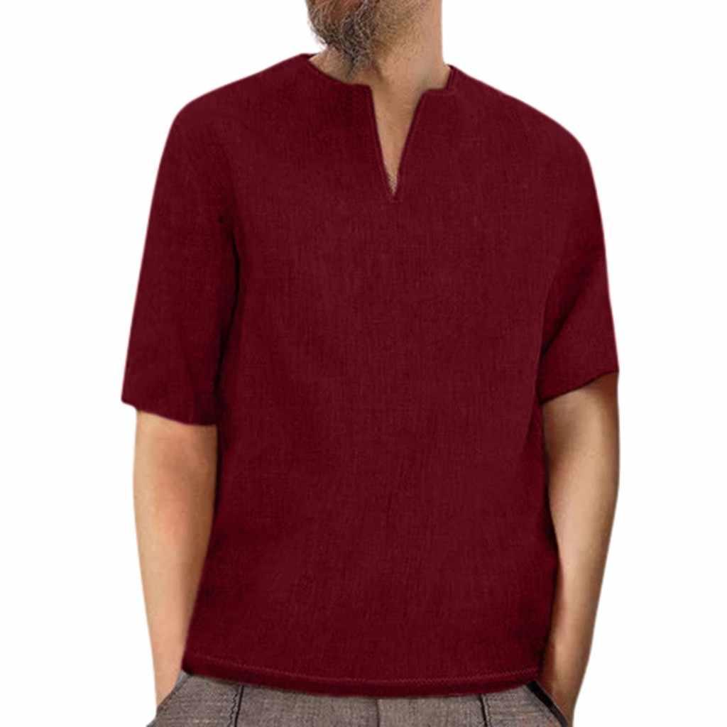 Koszule męskie ropa camiseta lato luźne w stylu casual bawełna retro pościel jednolita, krótka rękaw V Neck koszule topy bluzki koszule w stylu harajuku