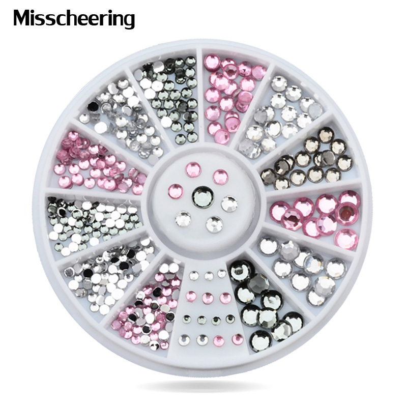 New Mix Sizes Crystal Pink Grey 3d Glitter Nail Art Tips