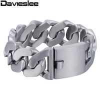 27mm Heavy Thick Mens Chain Matte Finish Curb Silver Tone 316L Stainless Steel Bracelet Personalize Size