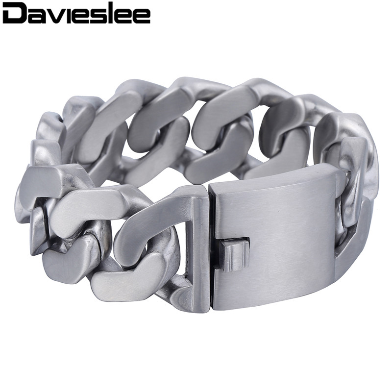 Davieslee Heavy Thick Mens Bracelet Chain Silver Tone Matte Finish Curb 316L Stainless Steel Fashion Jewelry 27mm LHB409 цена 2017