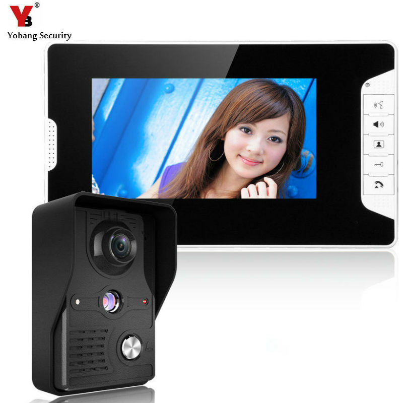 YobangSecurity 7-Inch LCD Video Doorbell Intercom Door Phone Camera System Kit with 1 Camera 1 Monitor ...