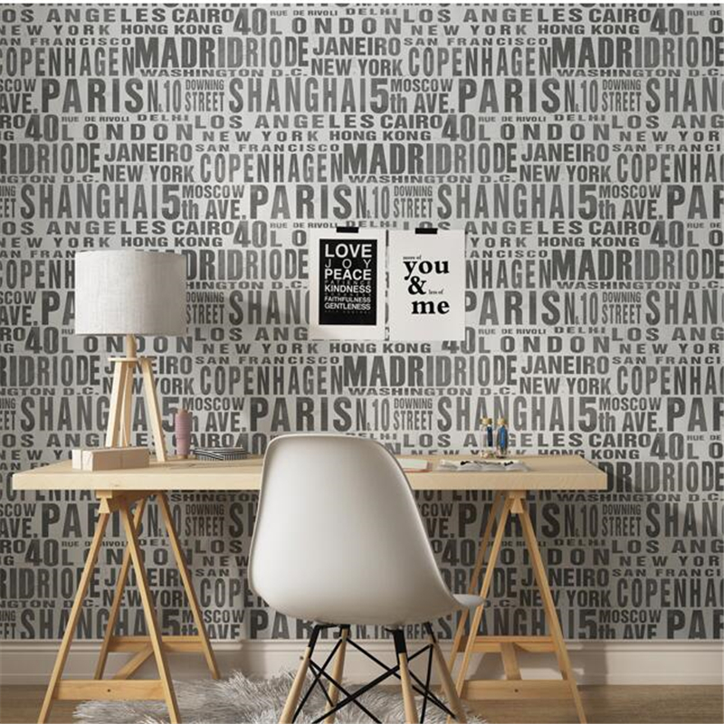 Beibehang papel de parede Warm nonwovens wallpaper modern fashion black and white letters living room bedroom TV background wall beibehang nonwovens healthy fashion