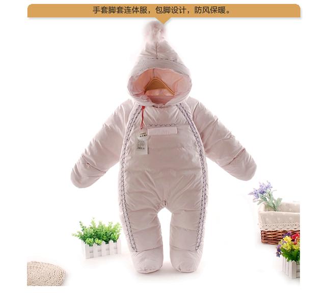 Mamelucos del bebé Recién Nacido Del muchacho Del Bebé Térmica 90% Plumón de pato Traje Para La Nieve de invierno Lindo Bebé Con Capucha Mono Recién Nacido Del Bebé de Esquí traje