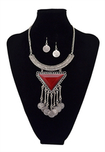New New Fashion Big Crystal Triangle Coin Long Tassel Necklaces & Pendants Women Silver Moon Bijoux Maxi Statement Necklace