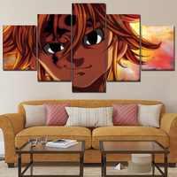 Pared arte niños habitación hogar decorativo 5 piezas los siete pecados mortales Anime pintura lienzo HD impresiones Meliodas cuadros marco