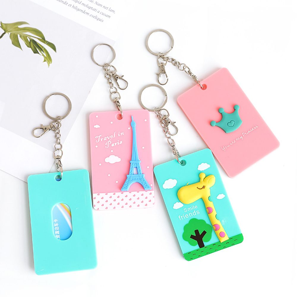 Cute Access Card Cover Portable ID Credit Card Holder Student Bank Bus Hanging Neck Card Cover School Office Supply