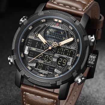 NAVIFORCE Mens Watches To Luxury Brand Men Leather Sports Watches Men's Quartz LED Digital Clock Waterproof Military Wrist Watch