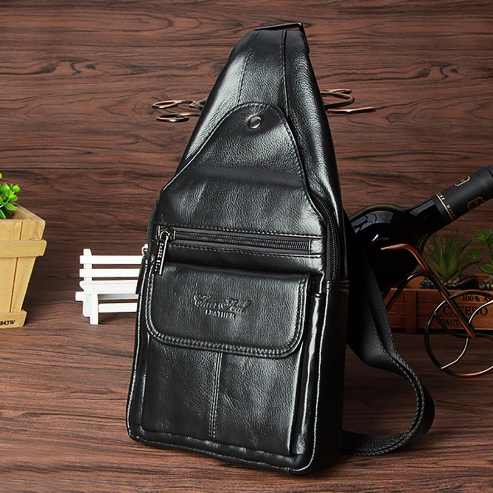 ФОТО 100% Genuine Leather Men Sling Bags Chest Pack Travel Single Back Pack Male Brand Famous Cowhide Messenger One Shoulder Bag