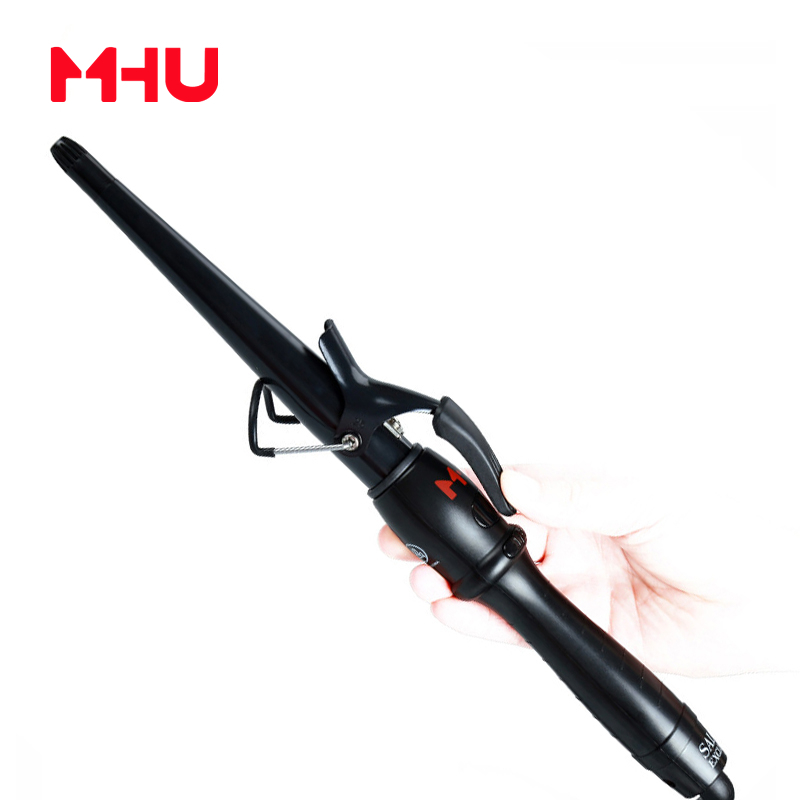 MHU Cone Curling Iron For Hair Curler PTC Fast Heating System LTD Digital Display Curling Hair Irons Stylerrizador de pelo 013T 15 25mm ceramic bead hair curler roller 110 240v 60w hair curling irons professional ptc heating curl hair style tool with glove