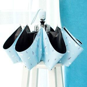 Image 5 - Paraguas de flores con recubrimiento negro y protector solar, sombrilla soleada para lluvia, tres paraguas plegable para mujer, sombrilla de princesa automática para regalo