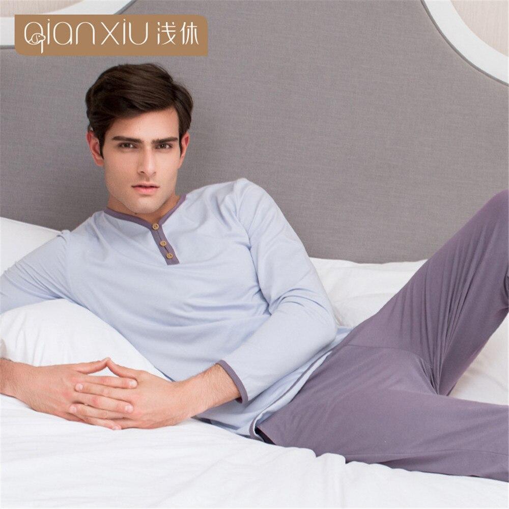 Qianxiu Casual Homewear Men Pajamas Lovers Suit For Sleep Long-sleeved Pants Pajama Suit Cotton V-neck Men Sleepwear 2018 Autumn