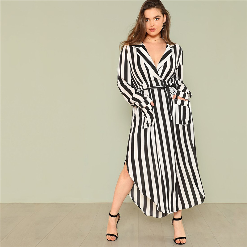 SHEIN Black And White Stripe V Neck Belted Plus Size Maxi Dress Spring Fall  Office Lady High Waist Split Side Striped Dresses White Dress For Teens ...