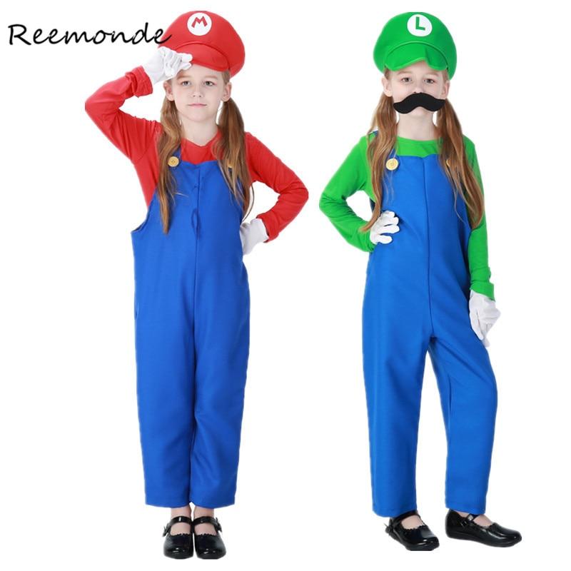 REEMONDE Funy Super Mario Luigi Brothers Plumber Cosplay Costume For Kids Boys Girls Halloween Fancy Dress Jumpsuits Costumes