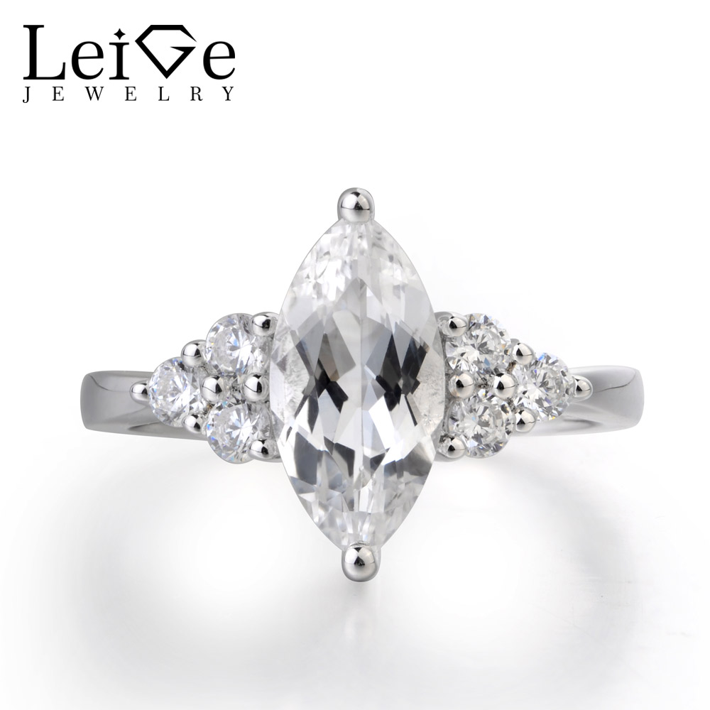 LeiGe Jewelry Natural White Topaz Ring Wedding bands Marquise Cut Gemstone 925 Sterling Silver Ring Trendy Gifts for Woman
