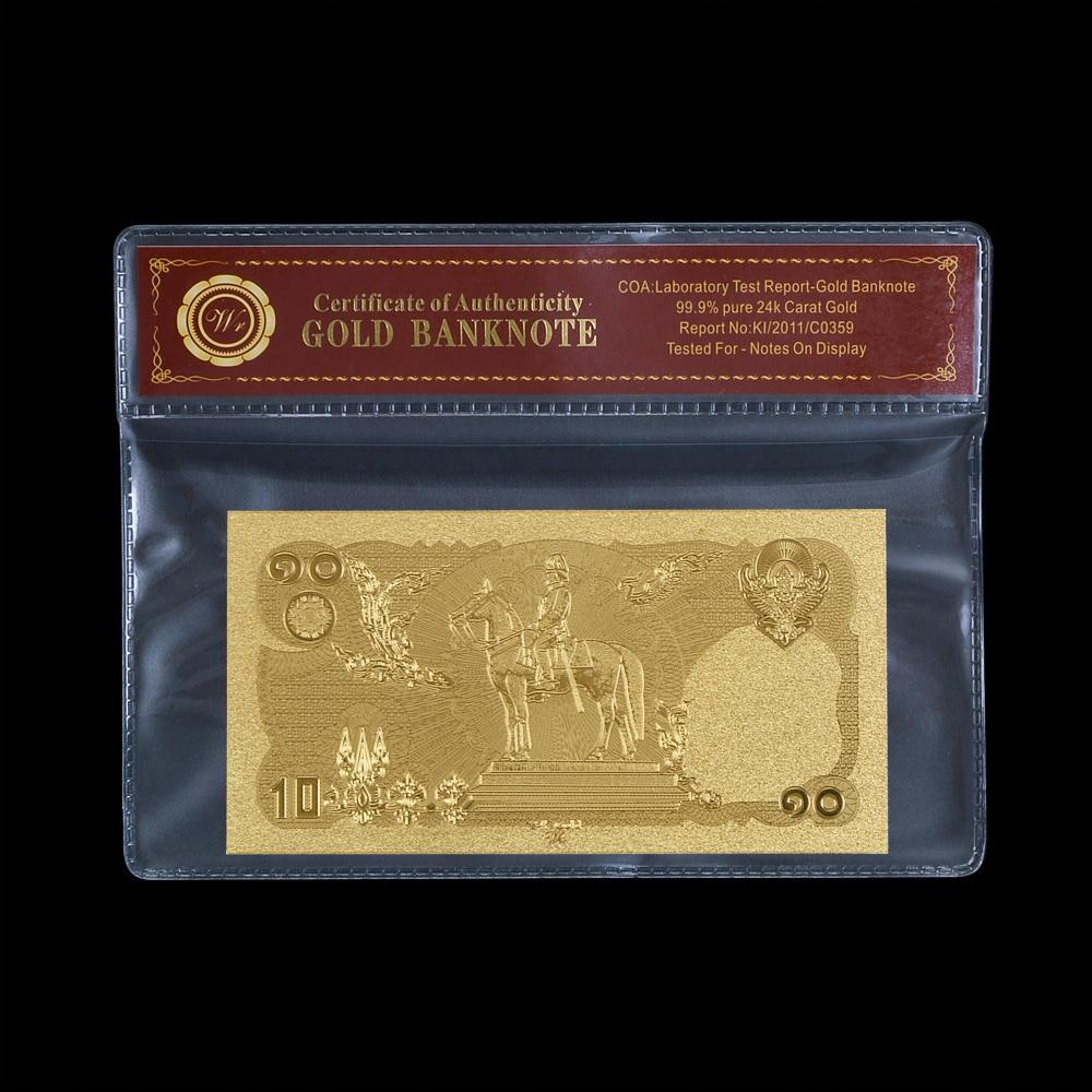 Gold Banknote Thailand 10 Baht Metall Reine Vergoldet Banknote Mit