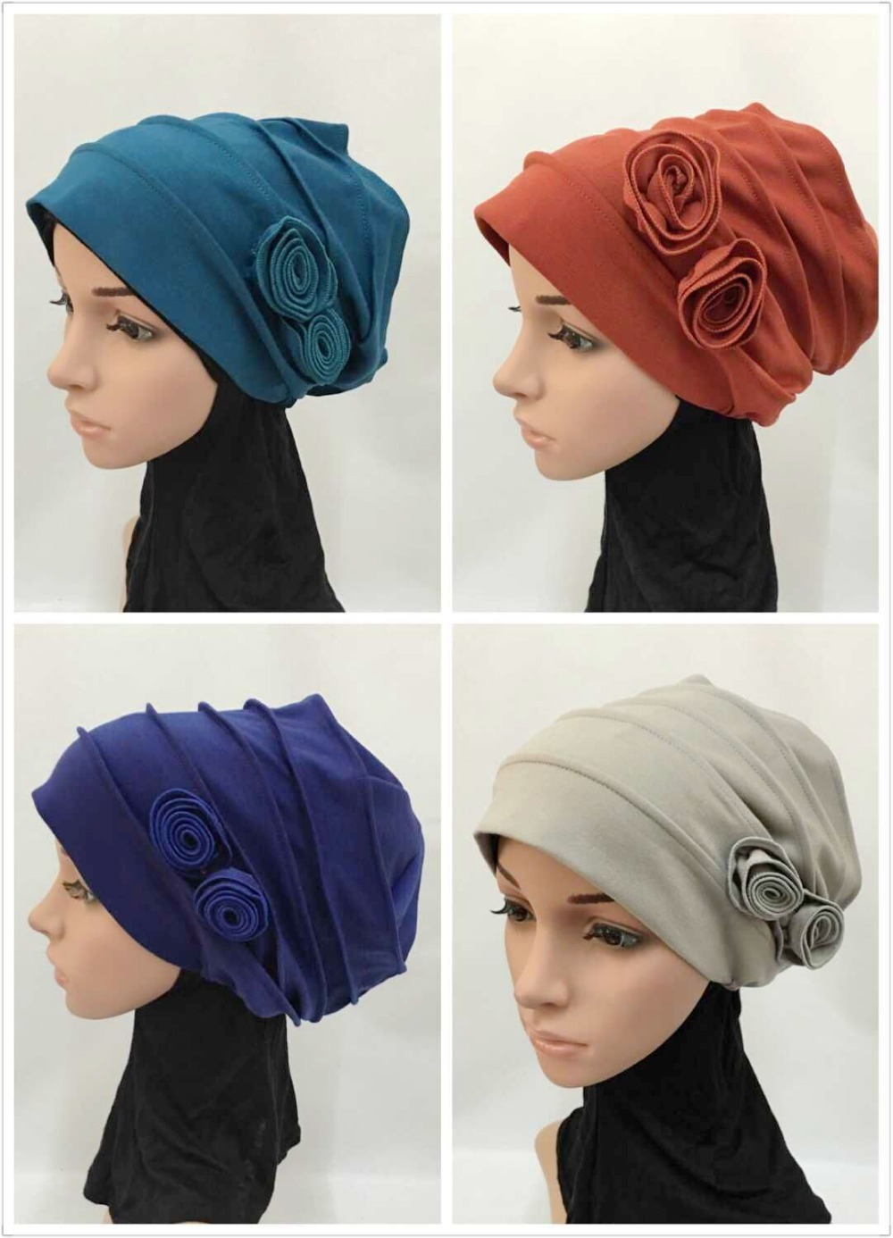 12 pieces lot latest assorted colors muslim hijab hats islamic caps ML0126