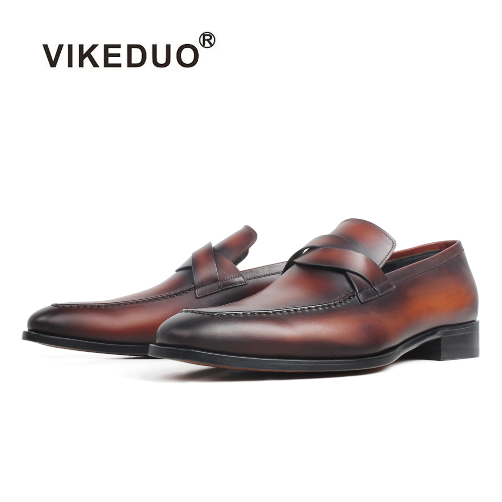 VIKEDUO New Loafers Shoes Men Genuine Leather Shoes Handmade Patina Casual Mans Footwear Wedding Office Slip-On Zapato De Hombre