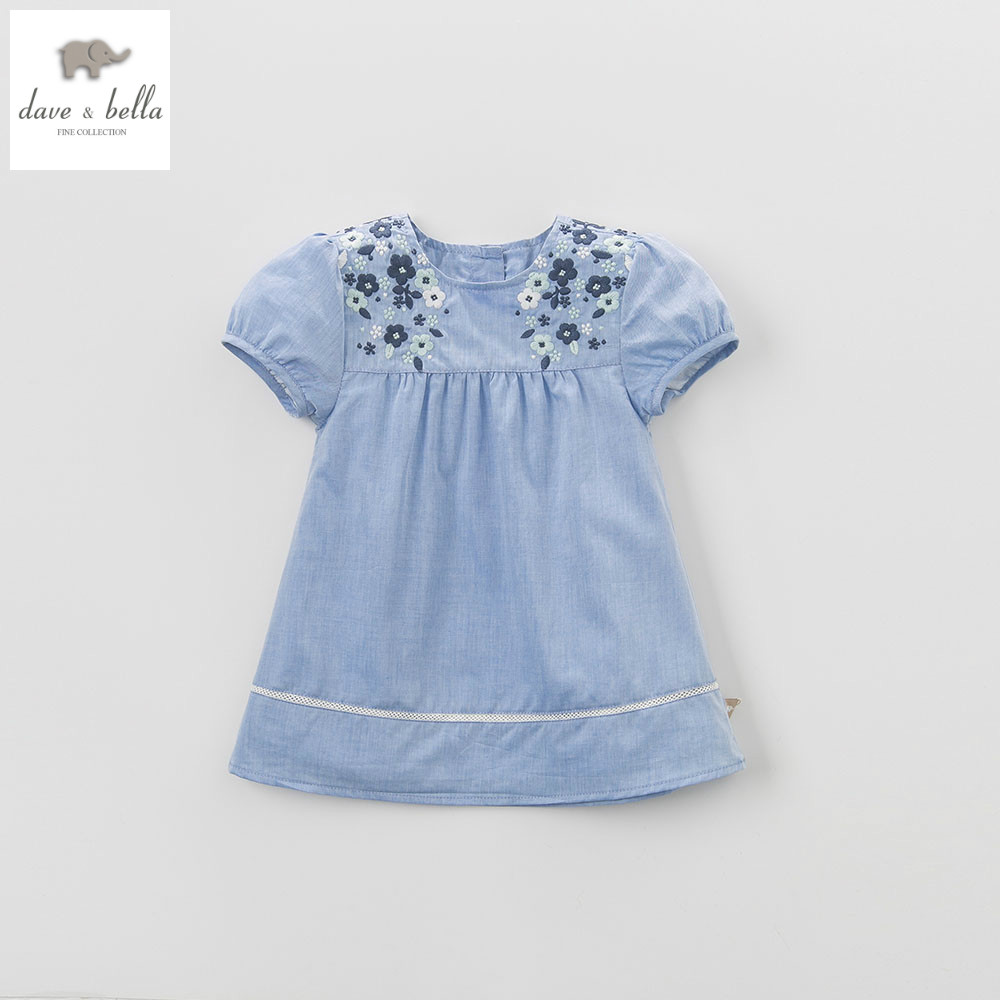 DB4367 dave bella summer baby girl princess light blue clothes childs sweet dresses kids toddle children dress ватрушки sweet baby тюбинг sweet baby glider 105 silver blue